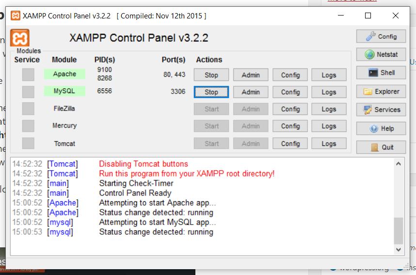 installing wordpress on a local server XAMPP control panel