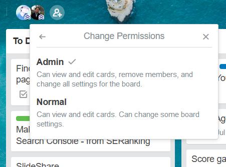 trello board member change permission