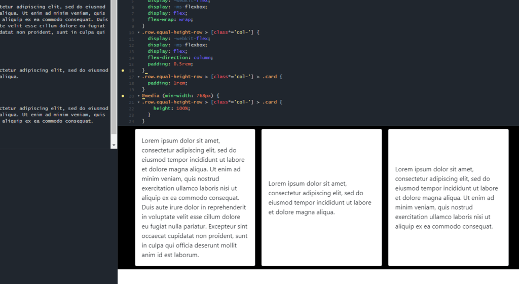 css set bootstrap columns equal height using flexbox