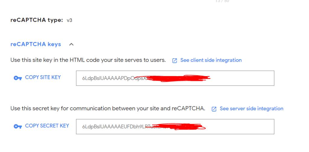 recaptcha site keys and secret keys