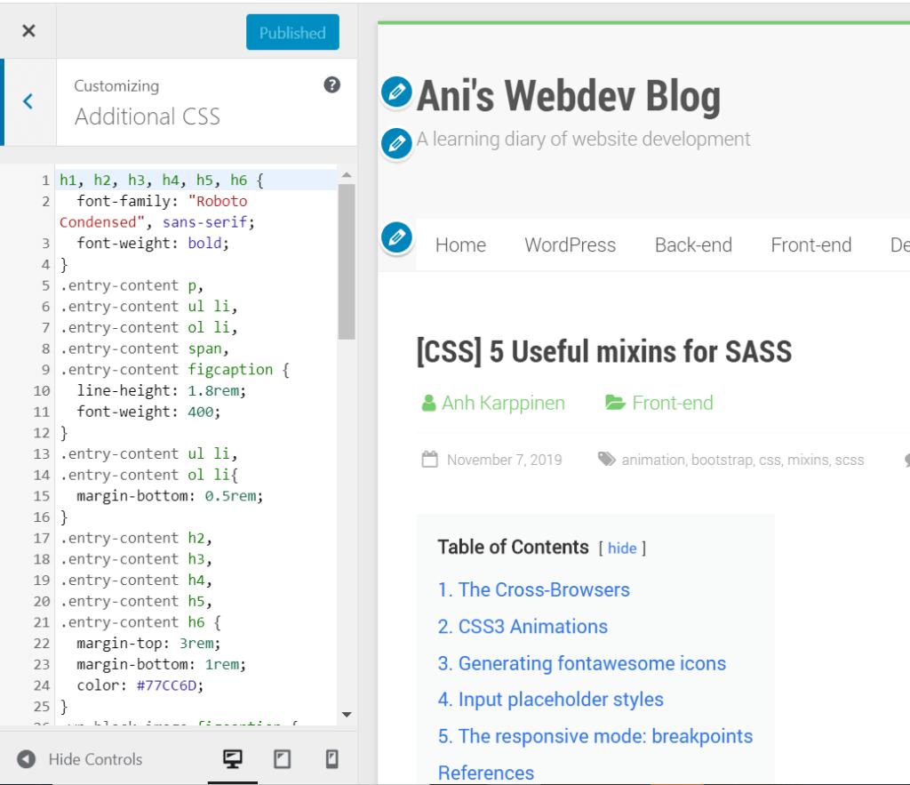 wordpress customize tool content