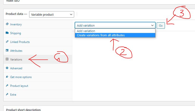 woocommerce create variations for variable products